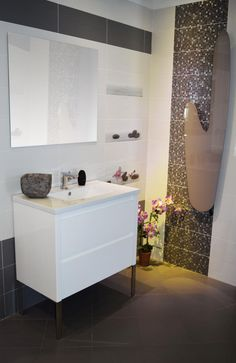 meuble de salle de bain blanc laqu 80cm faence blanc et grise mosaque frise - Frise Salle De Bain Horizontale Ou Verticale