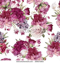 Find Seamless Floral Pattern Peonies Watercolor stock images in HD and millions of other royalty-free stock photos, illustrations and vectors in the Shutterstock collection. Flower Backgrounds, Flower Wallpaper, Floral Flowers, Floral Wreath, Vintage Floral Wallpapers, Decoupage, Floral Printables, Watercolor Rose, Surface Pattern Design