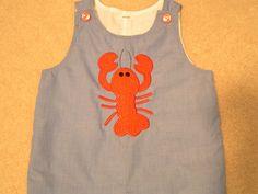 Toddler Boy's Jon Jon with crawfish applique. $42.50, via Etsy.