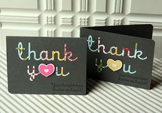 Thank You Cards by Danielle Flanders for Papertrey Ink (April 2012)