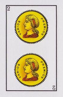 Tarot y Baraja Española: Baraja Española: Dos de Oros Custom Decks, Cursed Child Book, Bella, Playing Cards, Comics, Tattoos, Cartomancy, Creative Crafts, Gold