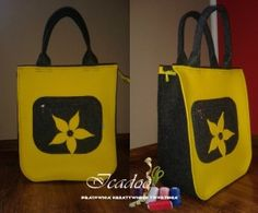 Filcowa torebka żółty plus grafit, seria midi