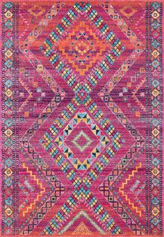 Showcase your sense of style with this nuLOOM Jina Tribal Diamonds Geometric rug. In fuchsia. Red Persian Rug, Persian Carpet, Carpet Runner, Rug Runner, Machine Made Rugs, Rugs Usa, Geometric Rug, Pink Rug, Rug Making