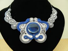navy and gray soutache necklace