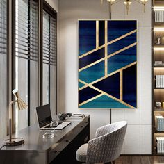 Framed Wall Art Modern Geometric Gold Navy Blue Simple Nordic Abstract Design Gold Art on Canvas Large Wall Art Cuadros Abstractos - Malerei Kunst Diy Wand, Grand Art Mural, Mur Diy, Geometric Wall Art, Geometric Painting, Abstract Art, Geometric Shapes, Diy Canvas, Blue Canvas