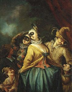 Attributed to Marco Marcola (Verona 1740-1793) | Arlecchino, Colombina and other Commedia dell'Arte characters