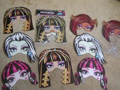 Monster High 8 PC Party Loot Bags with 8 PC Set of Monster High Masks Cool | eBay