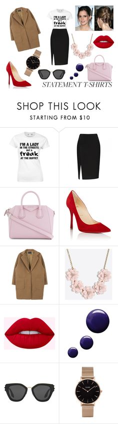 """""""Work Wear: Statement T-Shirts"""" by eduarda-farias ❤ liked on Polyvore featuring Givenchy, Christian Louboutin, J.Crew, Emma Watson, Topshop, Prada, CLUSE, WorkWear, red and oversizedcoats"""