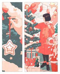 트위터 Art And Illustration, Aesthetic Drawing, Aesthetic Art, Comic Kunst, Comic Art, Comic Layout, Anime Art Girl, Christmas Art, Art Inspo