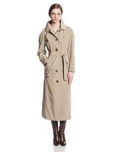 London Fog Women's Long Trench Coat with Hood in Khaki - http://www.womansindex.com/london-fog-womens-long-trench-coat-with-hood-in-khaki/
