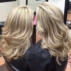 Beautiful Blondie Stacks - Platinum & light brown streaks melt into the blonde base color