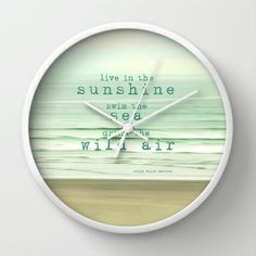 live in the sunshine Wall #Clock #ocean #beach #typography