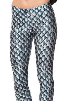 Dragon Scales Silver Leggings (WW ONLY $75AUD) by Black Milk Clothing