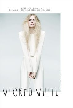 Shamila teams up with Prestage magazine to capture the Wicked White, a sublime new story starring Milou Sluis styled by Pedro Dias. Fashion Beauty, Girl Fashion, Fashion Outfits, Fashion Shoot, All White Outfit, White Dress, Lanvin, Poster Photography, Fashion Images