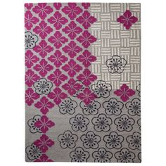 Love this rug for my remodeled bedroom theme of black, white and pink. Very chic Floral Area Rug - PinkGray (5x7)