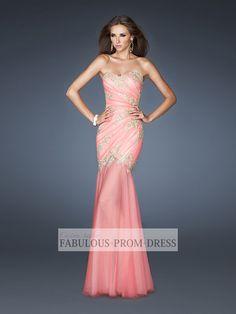 2013 Style Trumpet / Mermaid Sweetheart Applique Sleeveless Floor-length Tulle Prom Dresses / Evening Dresses (SZ0301731) - FabulousPromDress.com
