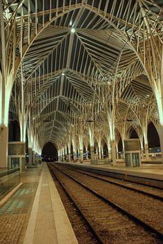 Lisbon, Portugal - Train station (Calatrava architect) - Nations Park (Parque das Nações) district