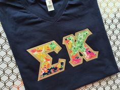 V neck greek letter shirt dphie shirt adpi by LittleGreekBoutique