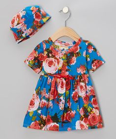 Take a look at this French Bleu Roses Dolly Dress & Beanie - Infant by Country Baby on #zulily today!