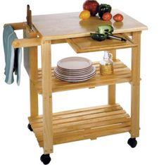 Butcher Block Basic Kitchen Cart Chopping Rolling Storage Rack Cutting Board #WinsomeWood