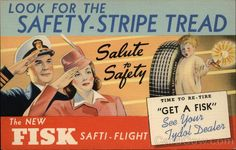 WWII era advertising postcard for Fisk Safti-Flight Tires, 1940s