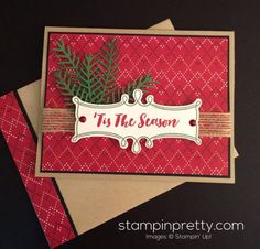 Christmas Pines stamp set and Pretty Pines Thinlits Dies holiday card.  Mary Fish, Stampin' Up! Demonstrator.  1000+ StampinUp & SUO card ideas.  Read more http://stampinpretty.com/2016/09/pretty-pines-tis-the-season-christmas-card.html