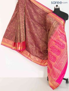 MAROON AND PINK SOUTH SILK SAREE WITH WEAVING WORK