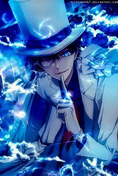 Anime Guys Kaito Kid by - Magic Kaito, Magic Anime, Dark Anime Guys, Hot Anime Boy, Cute Anime Guys, Chica Anime Manga, Anime Art, Kaito Kuroba, Detective Conan Wallpapers