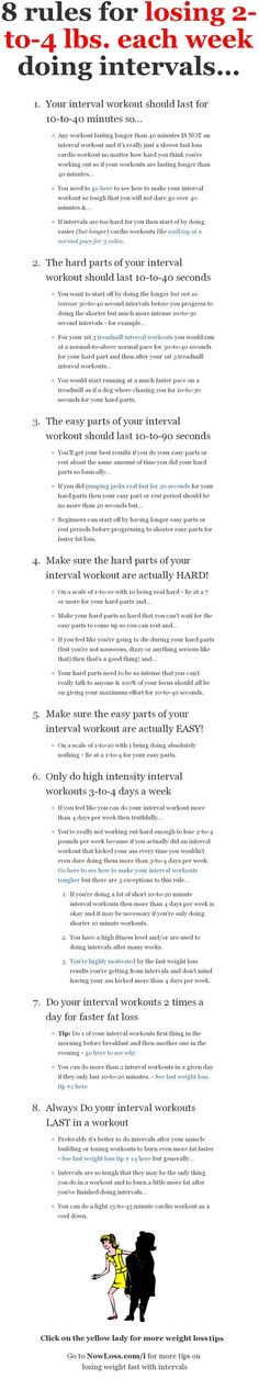How to lose 2-to-4 pounds each week doing intervals or high intensity workouts. You an lose more than 4 pounds per week when combined with a good diet