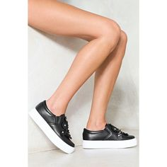 Nasty Gal May Flowers Platform Sneaker ($36) ❤ liked on Polyvore featuring shoes, sneakers, black, platform slip on shoes, black slip-on sneakers, slip-on shoes, black platform shoes and slip on sneakers