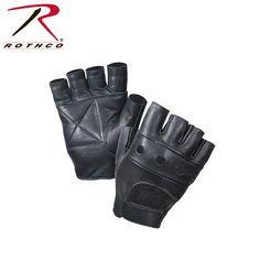 New Plain Black Stud Fingerless Biker Punk Gothic Driving Cycling Gloves Leather