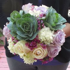 Bouquet with Ornamental Kale, Roses, Hydrangea, and Wax Flower Wax Flowers, Fresh Flowers, Beautiful Flowers, Flower Centerpieces, Flower Decorations, Wedding Decorations, Wedding Ideas, Floral Bouquets, Wedding Bouquets