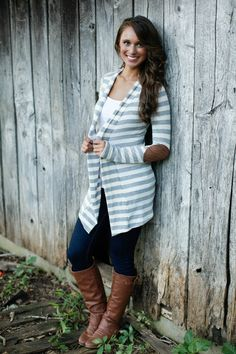 The Pink Lily Boutique - Light Grey Stripe Patch Cardigan, $36.00 (http://www.thepinklilyboutique.com/light-grey-stripe-patch-cardigan/)