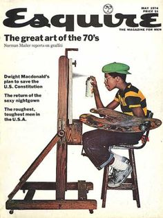 Jean Paul Goude - The great art of the / Esquire magazine cover, May 1974 // Norman Mailer, reports on the brand new at the time youth trend that was graffiti. Jean Paul Goude, Magazine Man, Magazine Covers, Magazine Design, Norman Mailer, Fashion Mode, Norman Rockwell, Collage, Cultura Pop