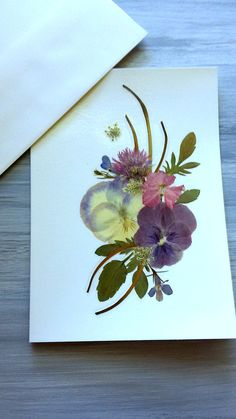 BOTANICAL GREETING CARD - Real Pressed Flowers, Colorful Garden Flower Art, Blank Stationary, Handmade Keepsake Card, Special Occasion Card