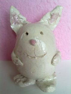 Clay easter bunny, crafting with kids