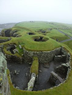 Jarlshof, Shetland Islands, Scotland - Archaeological site represents over 4,000 years of continual human habitation. The earliest remains are of Bronze Age buildings from around 2500-2000 BC; Iron Age round houses date from between 200 BC & AD 800; a Viking settlement from the 9th-14th centuries stands towards the eastern side of the site; & finally the castle (the Laird's House) stands in the centre of the site & was converted from a medieval farmhouse to a fortified residence in the…