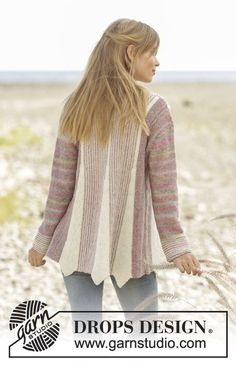 Knitted jacket in Garter stitch with short rows and stripes in DROPS Fabel. Sizes S - XXXL. Free pattern by DROPS Design.