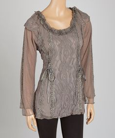 Look at this #zulilyfind! Gray  Lace-Up Linen-Blend Top by Pretty Angel #zulilyfinds