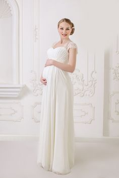 Long Chiffon Lace Wedding Dress with Ribbon and Beading Crystal For mother-to-be a bride. Fabric: Chiffon , lace Silhouette:Fit Flared Hemline/Sweep/ Long Trend Collections:2015 Collection Dry clean.