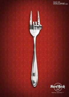 In this Hard Rock Cafe ad, the design has combined a fork - standard eating tool - with a hand symbol that is common at rock concerts. The visual language in this image is the hard rock edge for this dining experience. Hard Rock, Rock Café, Street Marketing, Guerilla Marketing, Marketing Ideas, Creative Advertising, Print Advertising, Advertising Campaign, Food Advertising