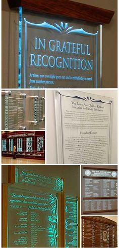 Stunning and Elegant Donor recognition walls, engraved in crystal.  We give free quotes on custom projects!!