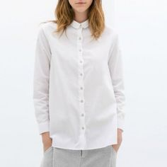 NEW FASHION LADIES' ELEGANT WAVES PLACKET LONG-SLEEVED COTTON WHITE SHIRT ST635