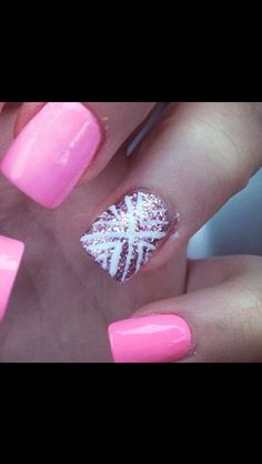 Pretty pink nail polish with a design