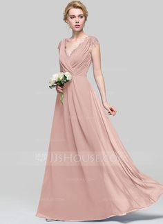 0e896043697d A-Line Princess V-neck Floor-Length Chiffon Bridesmaid Dress With Ruffle.  Arrossire Rosa Abiti Da Damigella D onorePannello ...