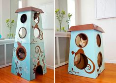 When life brings you a Cardboard Box - make a Cat Playhouse ...