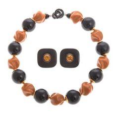 An Angela Caputi Beaded Necklace & Earrings Lot 111