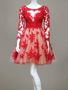 Mini Red Lace Homecoming Dress