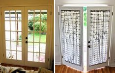 DIY French Door Curtain Panel Tutorial: Before & After ⋆ Pretty Prudent Patio Door Coverings, Patio Door Curtains, Diy Curtains, Patio Doors, Window Coverings, Panel Curtains, Window Treatments, French Door Curtain Panels, French Doors With Screens