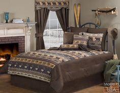 The Dakota Bear and Moose Pattern Bedding by Victor Mill is made in the USA and is the perfect compliment for those who love a rustic cabin lodge style on solid brown with images of beer, moose, canoes, and leave patterns. Lodge Look, Lodge Style, Rustic Comforter Sets, Lodge Bedroom, Bedding Collections, Comforters, Cabin, Furniture, Elk